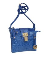 "MC Handbags ""Lucy"" Royal Blue Leather Croco Embossed Crossbody/Organizer... - $49.90"