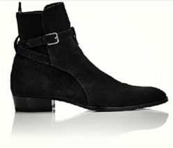 Suede Black Color Leather Rounded Buckle Strap High Ankle Jodhpur Men Boots - $149.90+