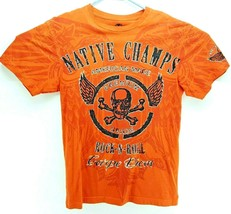 Hybrid Threads American Champs Skull Wings Carpe Diem op Orange Size Medium - $3.79
