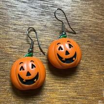 Estate Orange Smiling Jack O Lantern Plastic Halloween Pumpkin Dangle Ea... - $10.39