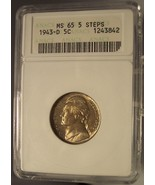 1943-D Jefferson Silver Wartime Nickle ANACS MS65 5 STEPS #G007 - $24.99