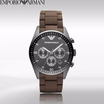 Emporio Armani AR5990 Sportivo Men's Brown Silicone & Steel Watch $395 - $139.75
