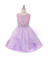 Lilac Lace Bodice Asymmetric Ruffles Tulle Skirt Rhinestones Flower Girl... - $48.00+