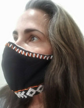 "NEW handcrafted ""TRIBAL NEEDLEWORK"" face mask black & beads cotton NONME... - $28.91"