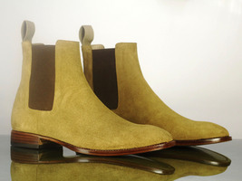 Handmade Men's Beige Suede High Ankle Chelsea Style Boots image 2