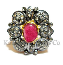 Victorian 1.32ct Rose Cut Diamond Ruby Fashionable Cute Wedding Ring - $265.54