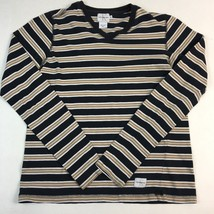 Calvin Klein Jeans Knit Top Size Small Striped V-Neck Long Sleeve - $12.87