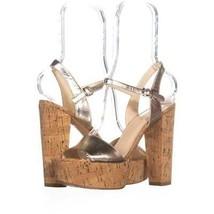 Nine West Carnation Platform Ankle Strap Sandals 408, Light Gold Metalic... - $24.95