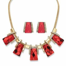 Ruby Red Crystal Gold Tone Vintage-Inspired 2-Piece Earrings Necklace Se... - $37.82