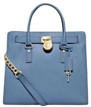 MICHAEL KORS HAMILTON CORNFLOWER BLUE SAFFIANO LEATHER TOTE BAG PURSE NWT - $235.59