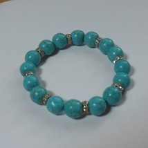 Faux Turquoise Stretch Bracelet With Rhinestone Spacers - $17.33
