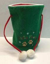 "Santa Paws Green Felt Christmas Dog Goody Treat Bag Holiday 9"" Tall - $11.95"