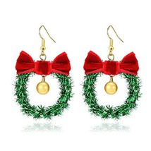 Handmade Christmas Ornament Wreath Earrings,Lightweight Christmas Red Bo... - $8.85