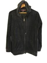 Gloria Vanderbilt Women's Ellie Velour Hoodie Jacket XL Color Navy/Black... - $19.99