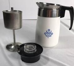 VTG Corning Ware Blue Cornflower 6 Cup Stove Top Coffee Pot Percolator C... - $34.30