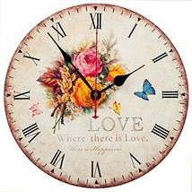 """Nice Wall Clock 12"""" Floral Butterflies Love Happiness Shabby Chic Farmhouse - $49.00"""