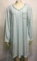 Karen Neuburger Womens Encore L Green Striped Nightgown Sleepshirt Long-... - $35.77