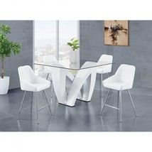 Global Furniture D9913BT W/D1067BS-WH Glass Top Table White Finish Bar Set 5 Pcs