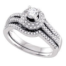 14k White Gold Round Diamond Bridal Wedding Engagement Ring Band Set 1/2 Ctw - £980.24 GBP