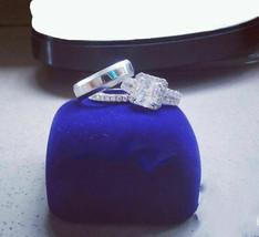 Diamond Trio Set Matching Engagement Ring Wedding Band 14K White Gold Fi... - $133.29