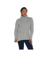 GILI Women's Cable Knit Turtle Neck Sweater Heather Grey, Size XXS, NEW ... - $24.74