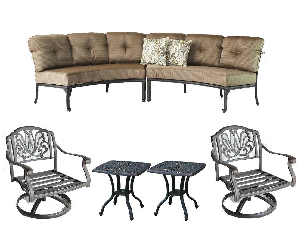 Patio Curved Sofa Elisabeth 2 Pc Club Swivel Rockers end tables Desert Bronze
