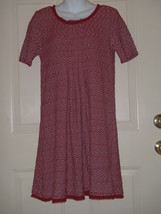 Maeve Anthropologie Maroon White Squiggles Pleated Knit Dress Raw Edges ... - $37.08