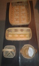 Longaberger 1993 Hostess 1998 Blue Red Green Bread 96 Button 96 Utensil Baskets - $69.03