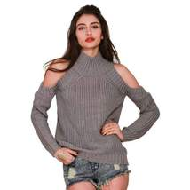 Fashion High Neck Cut Out Knitted Women Pullovers - $30.98