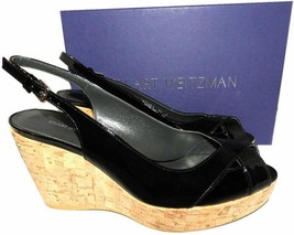 $460 Stuart Weitzman Vent Peep Toe Wedge Slingback Sandals Cork Black Pa... - $159.00