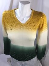 Women Blouse Regular Fit Long Sleeve V-neck ombre Yellow Green White Sequins  S - $16.82