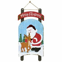 "Christmas Sled-Shaped Decoration Sign Merry Christmas Santa 8""X18.5"" w - $6.99"