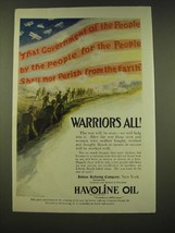 1918 Indian Refining Company Havoline Oil Ad - Warriors All - $14.99