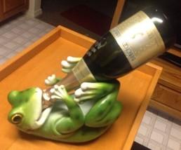 Green Frog Grod Toad Vino Wine Guzzler Holder Resin Decor Statue Home Ki... - £19.90 GBP