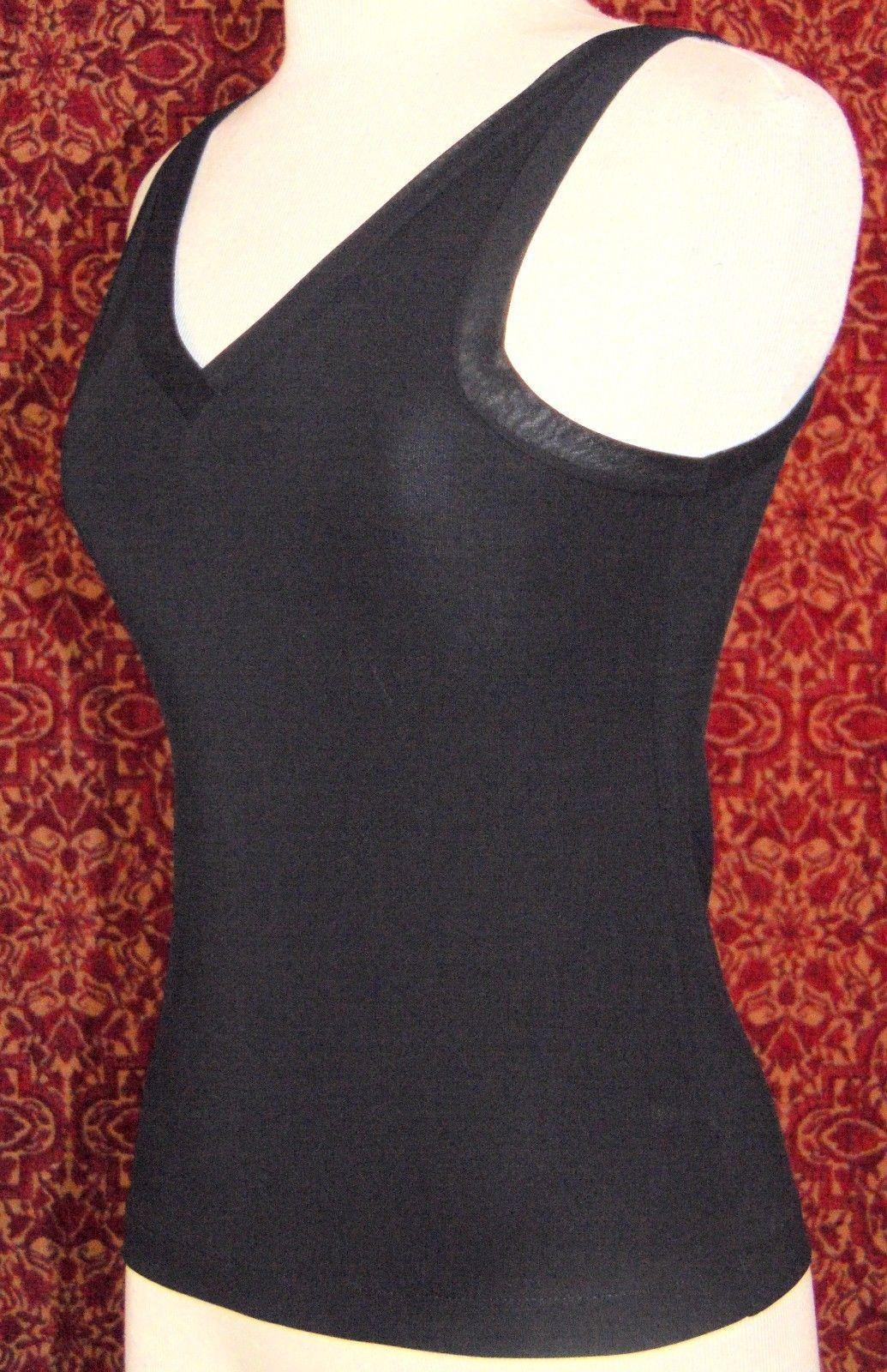 DKNY black rayon polyester blend stretch knit tank top P  (T48-03B8G)