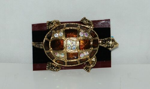 Generic Brown Gold Color Iridescent Rhinestone Turtle Brooch Large