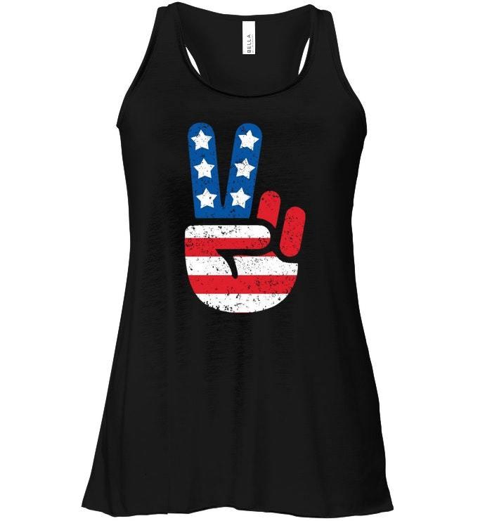 Cool American USA Flag Big Peace Sign Flowy Racerback Tank