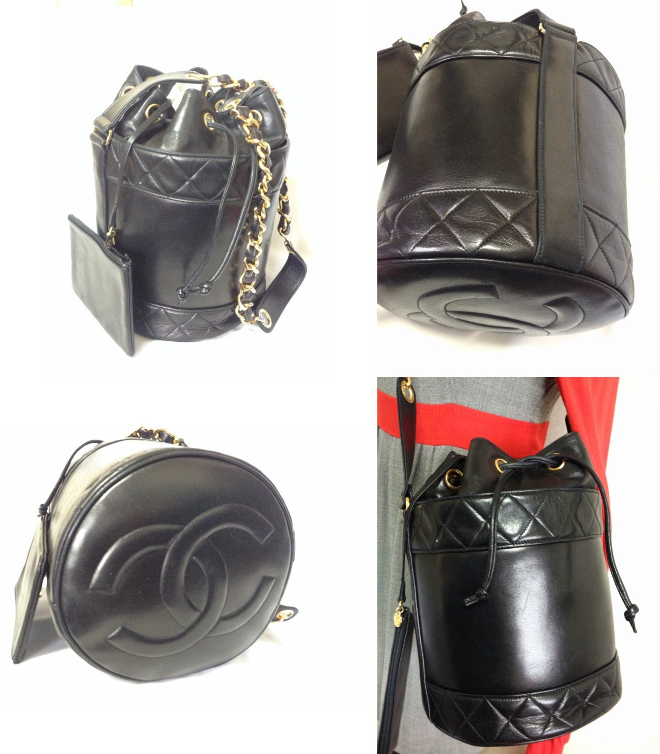 ad503872e649 Vintage CHANEL black lambskin bucket hobo drum shoulder bag with chains.