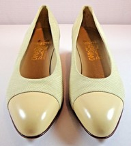 Salvatore Ferragamo Pumps Beige Fabric Leather Womens Size 8 AAA Low Heels - $101.04 CAD