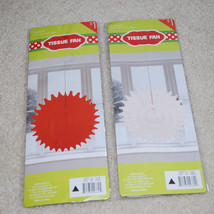Christmas Tissue Fans Red White Snowflake Holiday Party Decorations LOT ... - £9.74 GBP