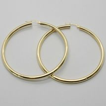 18K YELLOW GOLD ROUND CIRCLE EARRINGS DIAMETER 70 MM, WIDTH 3 MM, MADE IN ITALY image 3