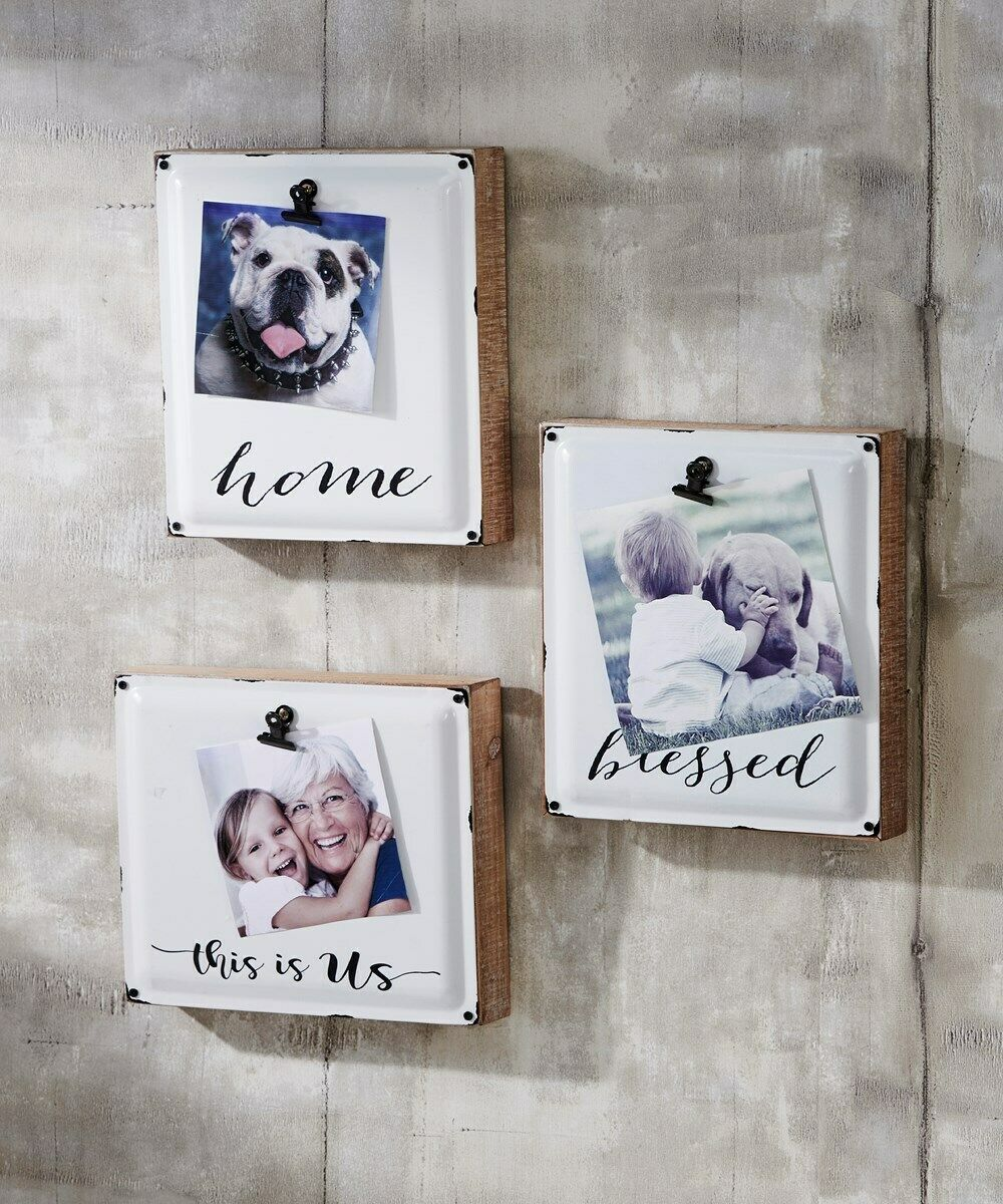 "Set of 3 - 7""x8""  Metal Photo Holders Wall Decor Distressed Look with Photo Clip"
