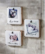 """Set of 3 - 7""""x8""""  Metal Photo Holders Wall Decor Distressed Look with Ph... - $59.39"""