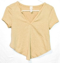Maypink May Pink Women's Heathered Dijon Yellow V-Neck Short Sleeve Shirt Size M