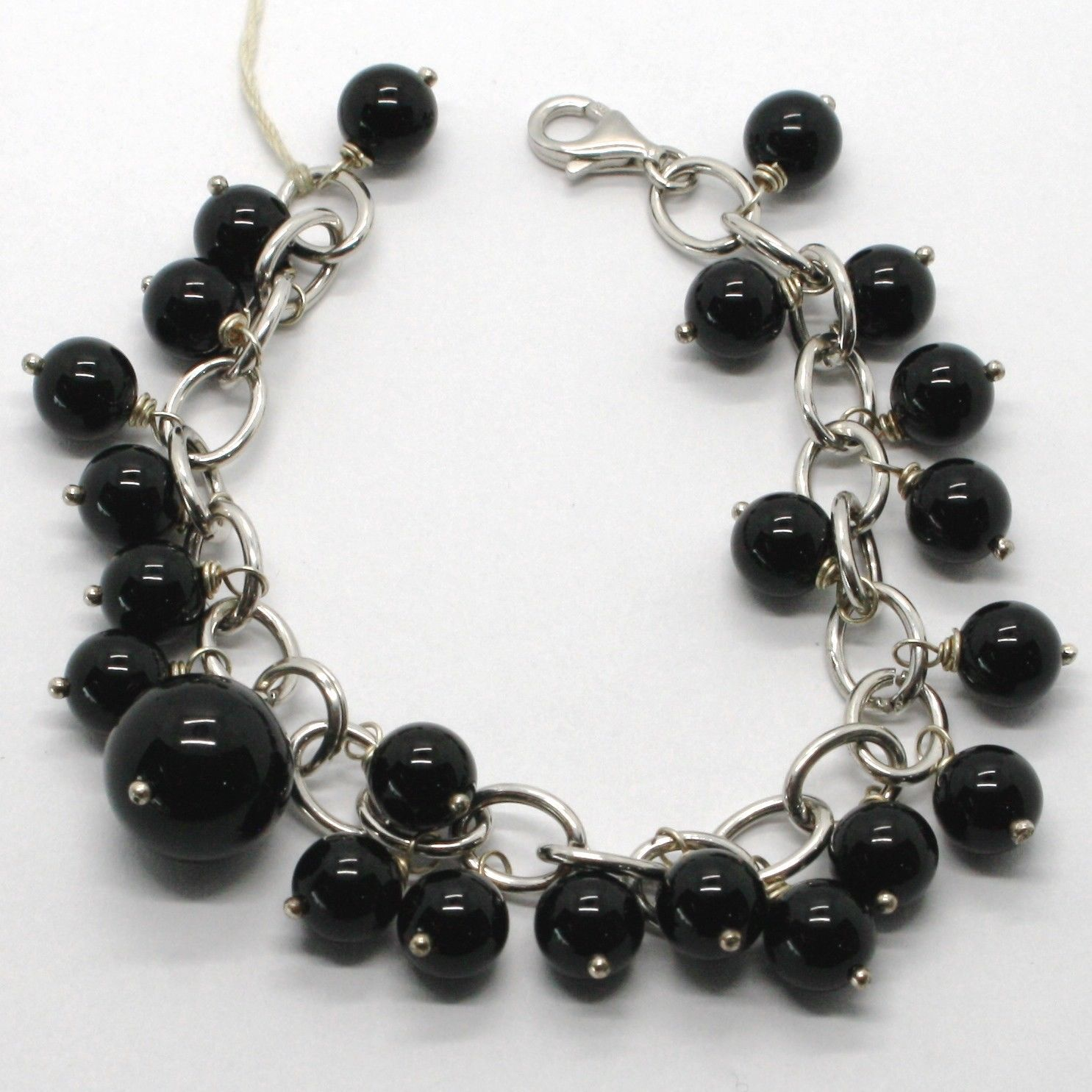 925 STERLING SILVER BRACELET WITH BIG BLACK ONYX SPHERE BALL PENDANT, CHARMS