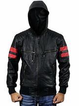 Mens Biker Red Stripes Retro Morotrcyle Hoodie Bomber Black Leather Jacket image 1