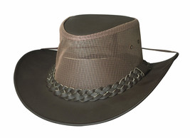 Bullhide PAYSON Genuine Leather Mesh Crown Chocolate Outdoor Hat S, M, L... - $58.00