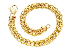 18K YELLOW GOLD BRACELET BYZANTINE ROUND TUBE LINK 6.5mm, 19cm MADE IN ITALY image 1