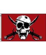 3x5 Jolly Roger Pirate Crimson Flag 3'x5' Polyester Nylon banner fade re... - $20.00