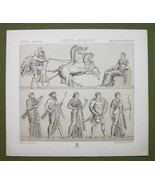 MILITARY Greek Roman Etruscan Gods - (2) Two Tinted Litho Prints by Racinet - $6.75